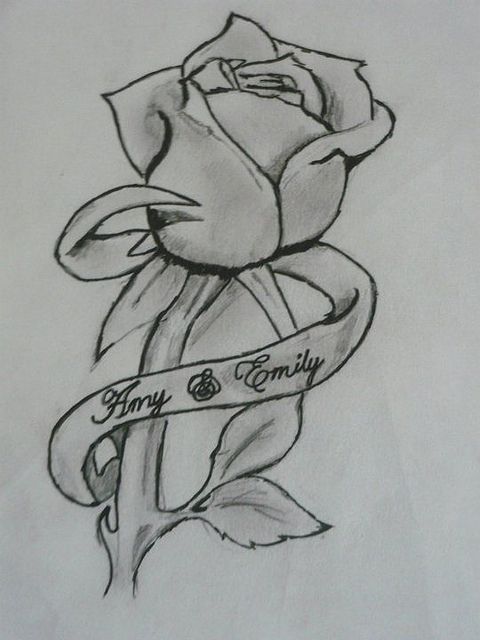 Drawings Of Roses And Ribbons