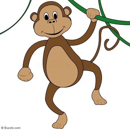 Cartoon Monkey Hanging From A Tree - Cliparts.co
