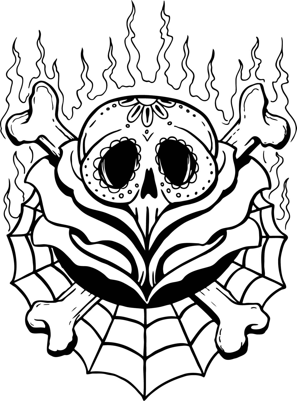 Skull Line Drawing Tattoo : Spider skull rose «line drawing «other «tattoo tattoo