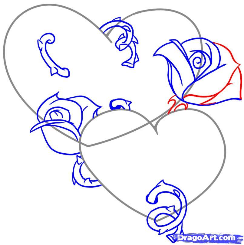 Как нарисовать сердце из розы поэтапно