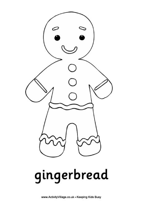 Gingerbread Man Colouring Page