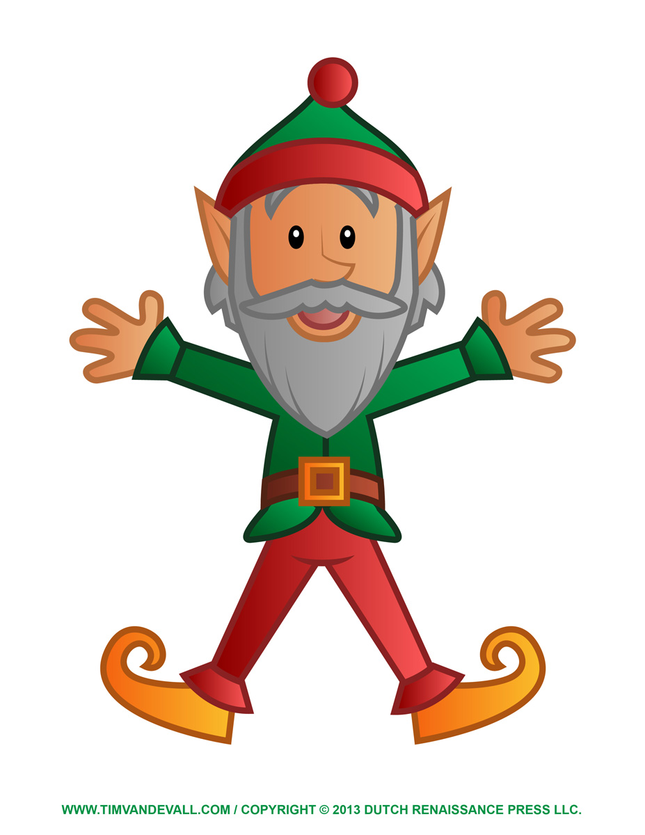 Printable Elf Clipart, Coloring Pages, Template & Christmas Ornaments