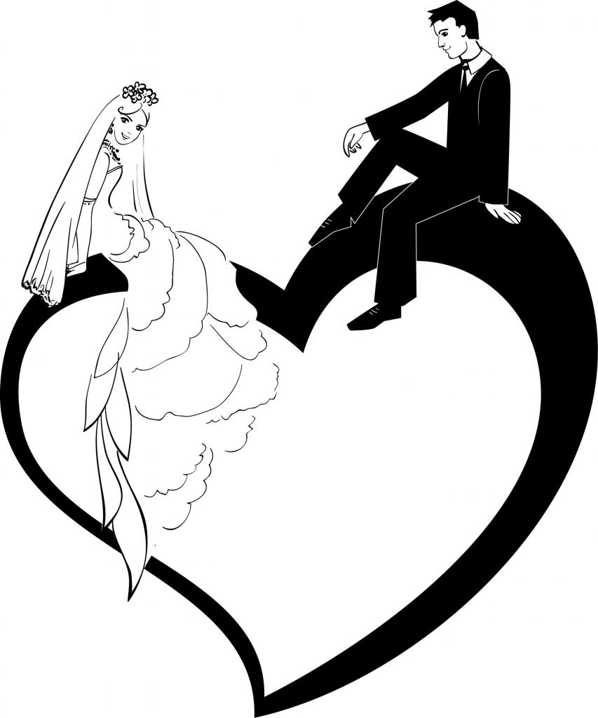 Bride And Groom Silhouette Clip Art - Cliparts.co