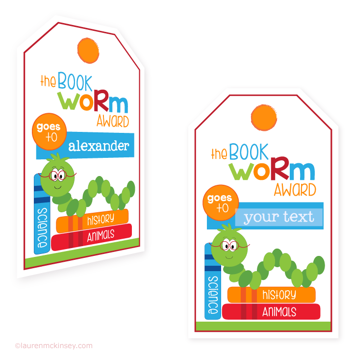 hanging gift tags{little bookworm} | Lauren McKinsey Printables