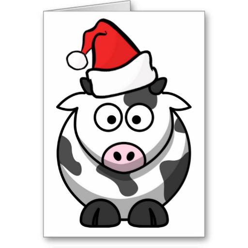 Merry moo christmas cute cartoon cow santa hat greeting card zazzle