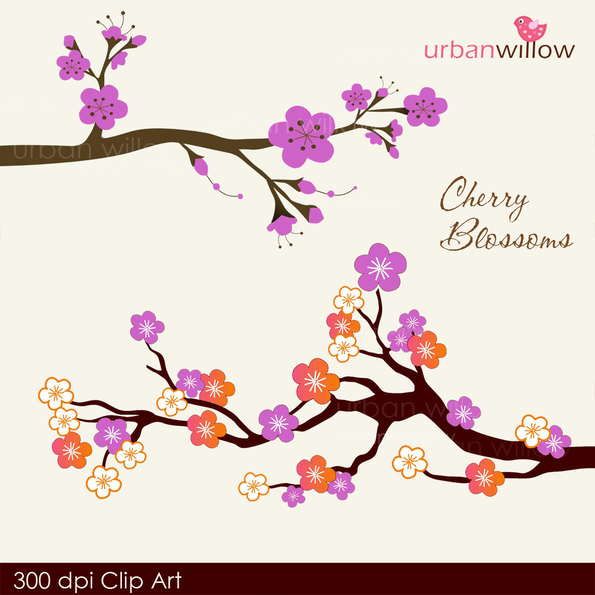 Japanese Clip Art Cherry Blossoms Amethyst Png Jpeg Clip Art By ...