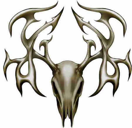Tribal Buck Deer Head Skull High Quality Cornhole board Decal Set