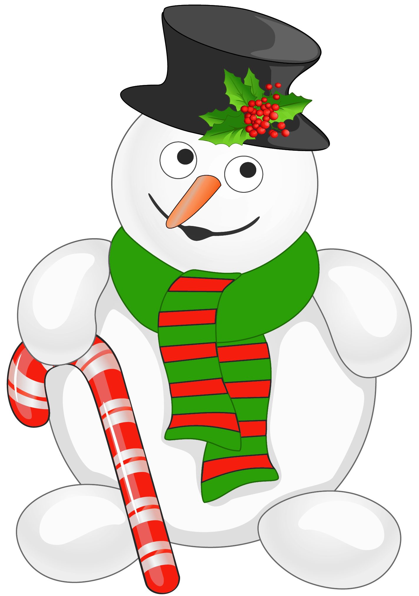 Snowman with Candy Cane PNG Clipart