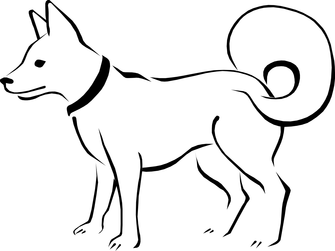 Dog Clip Art Black And White Coloring Page Free Clipart | School ...