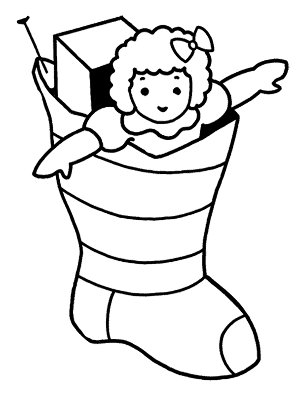 Christmas Coloring Pages Stocking Full Of Presents Coloring Page