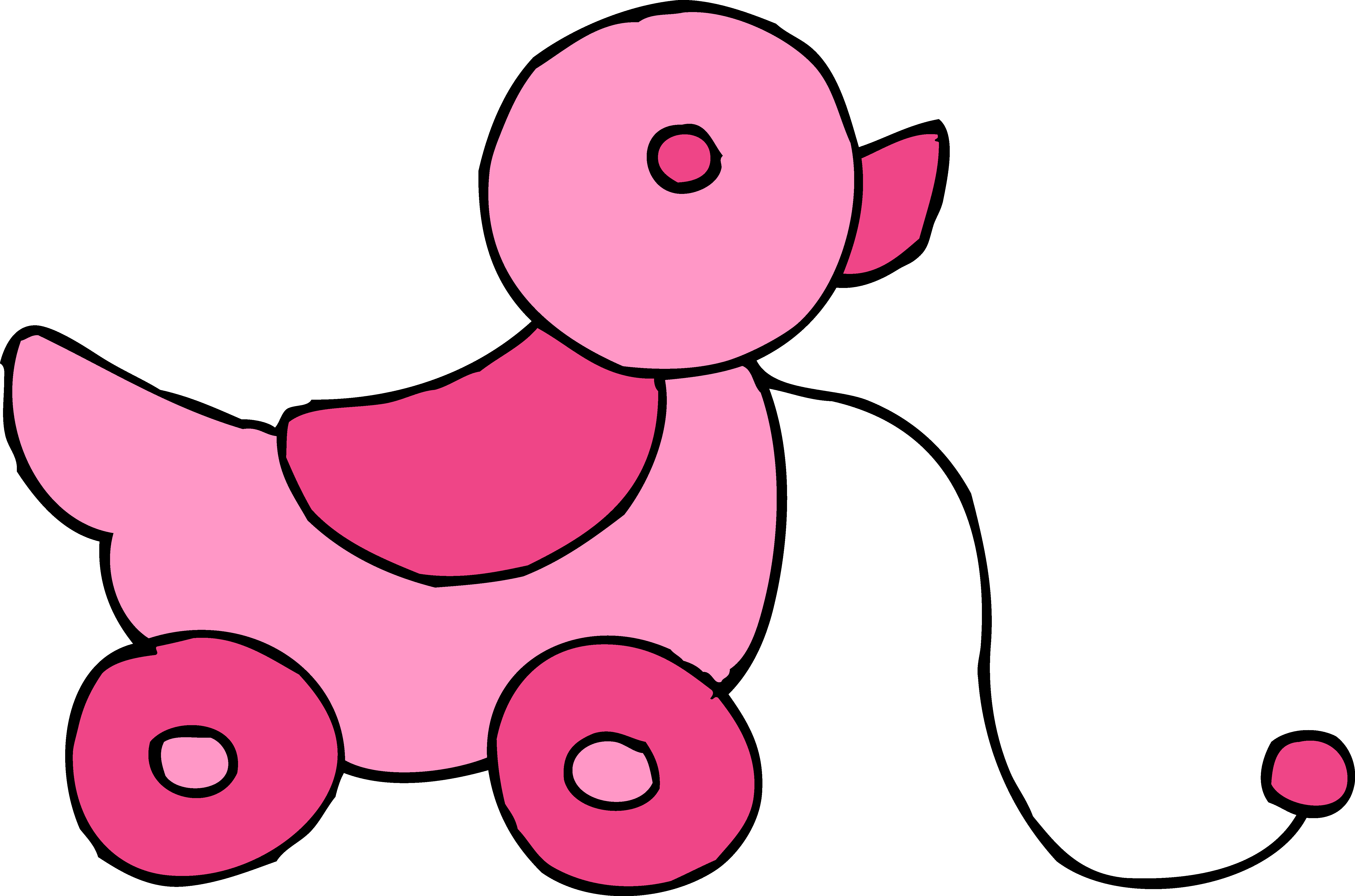 Cute Rolling Pink Duck Toy - Free Clip Art