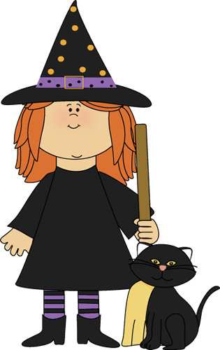Witch and Black Cat Clip Art - Witch and Black Cat Image