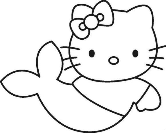 Simple Hello Kitty Coloring Pages As A Mermaid - Cartoon Coloring ...
