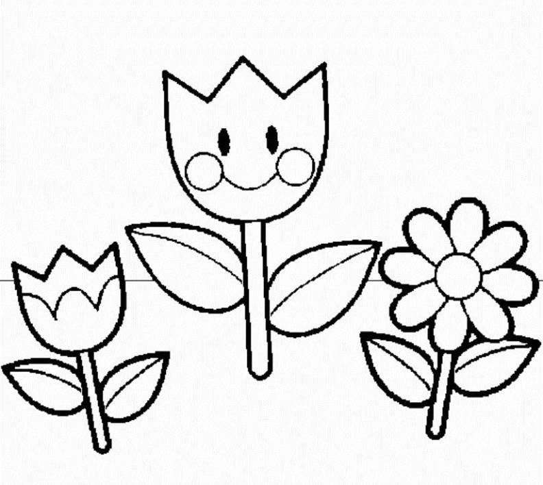Flower Coloring Pages : Flowers Spring Coloring Pages ...