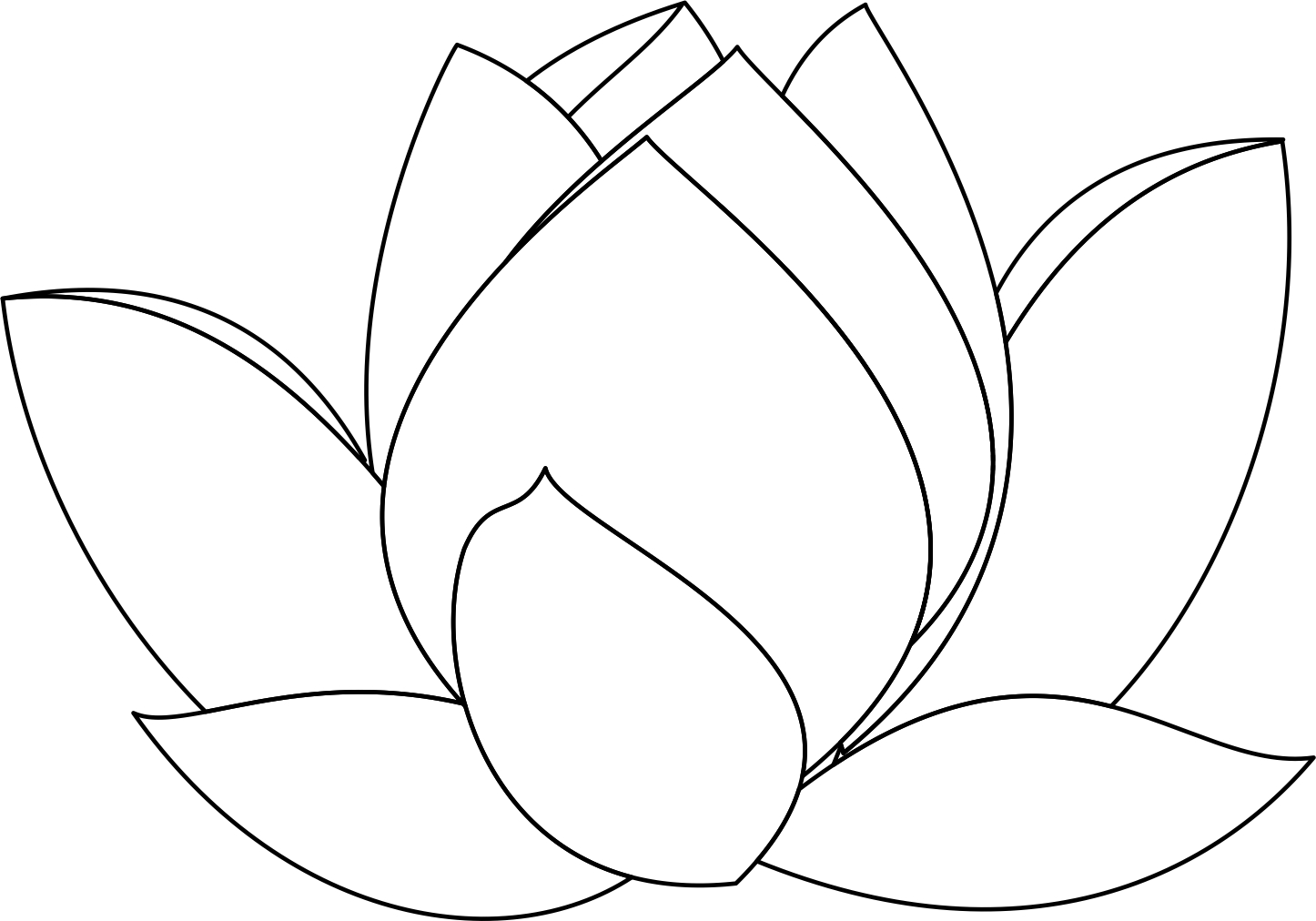 Lotus Flower Line Drawing Cliparts