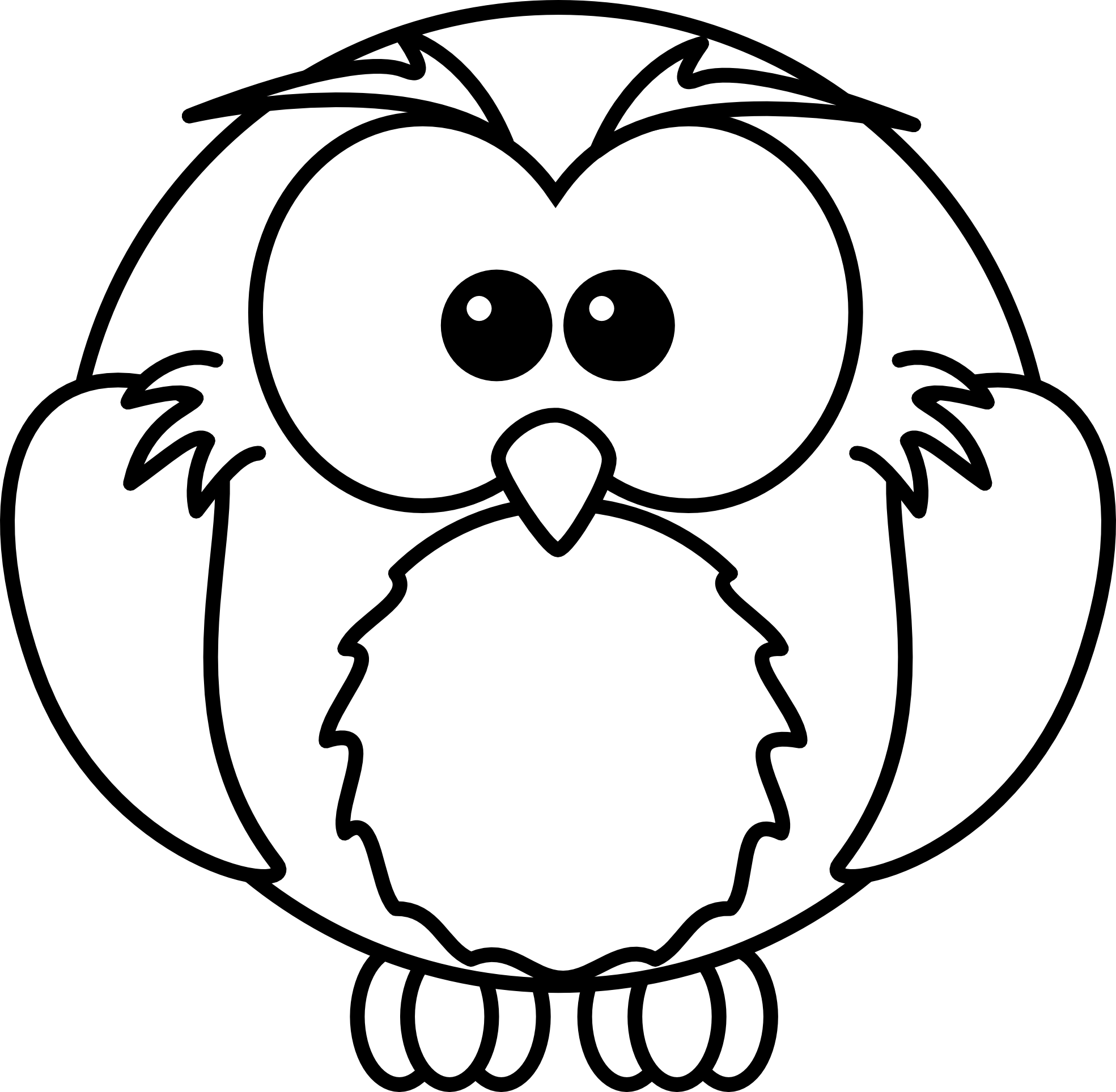 lemmling cartoon owl black white line art scalable ... - ClipArt ...