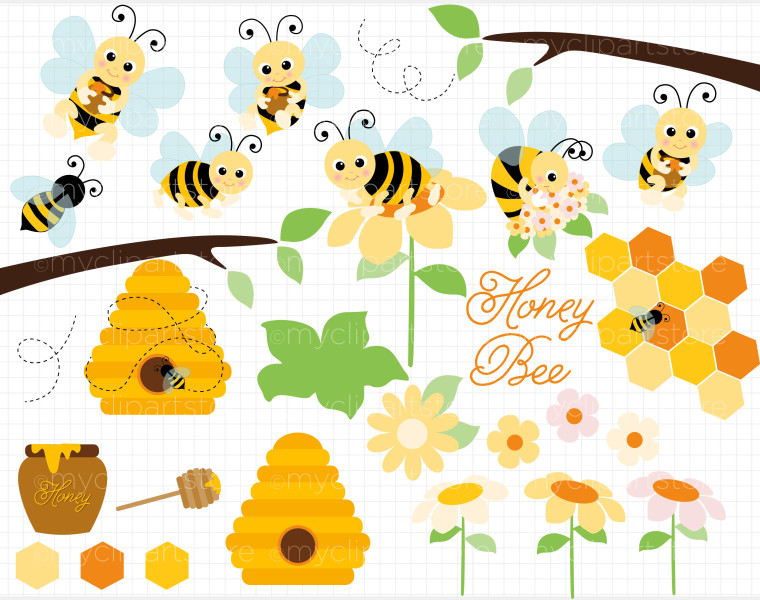 Clip Art – Honey Bees / Bumble Bee Clipart | MyClipArtStore