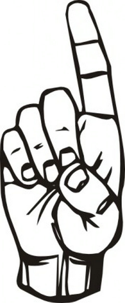 Sign Language D Finger Pointing Clip Art | Free Vector Download ...