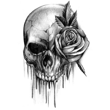 Bloody skull tattoo with rose. I like how its black and white ...