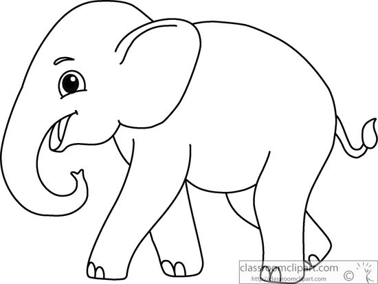 Animals : asian-elephant-black-white-outline-914 : Classroom Clipart