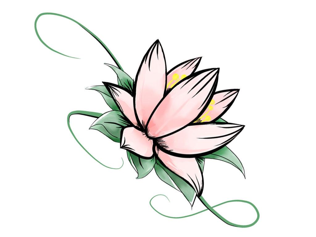 Тату эскиз цветок лотос из