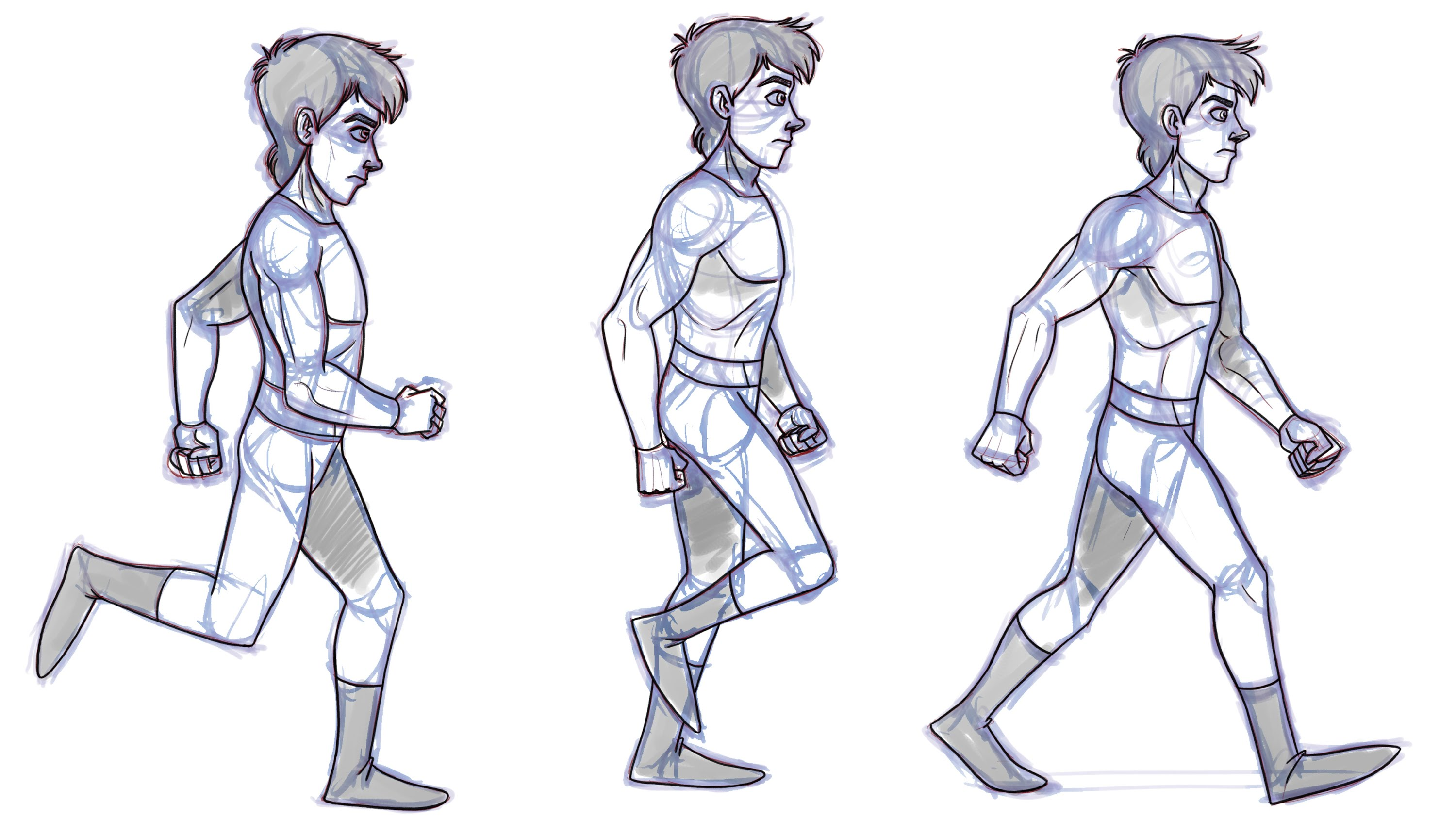 2d Animation Character Design Tutorial : Walking man drawing cliparts