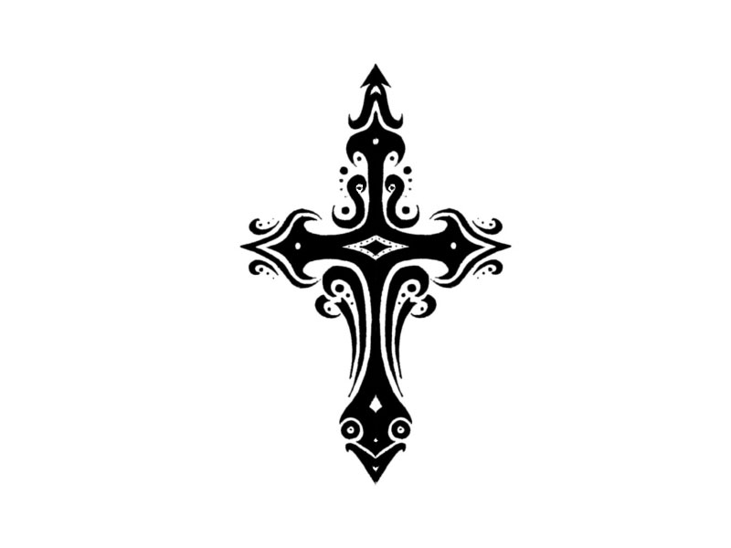 Tribal Cross With Banner Tattoo Designs