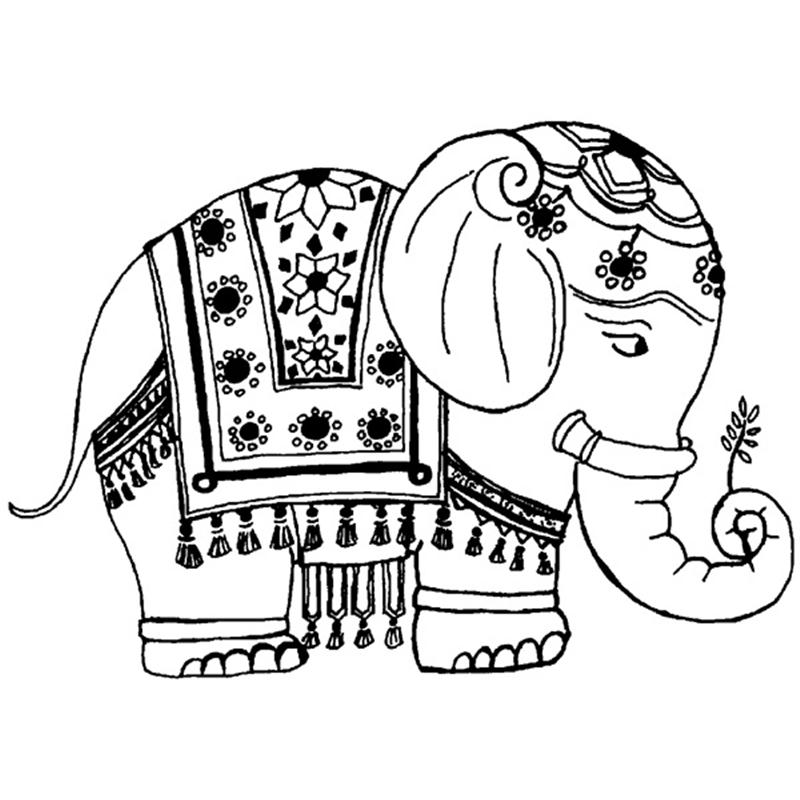Mehndi Elephant Coloring Pages : Indian elephant drawing cliparts