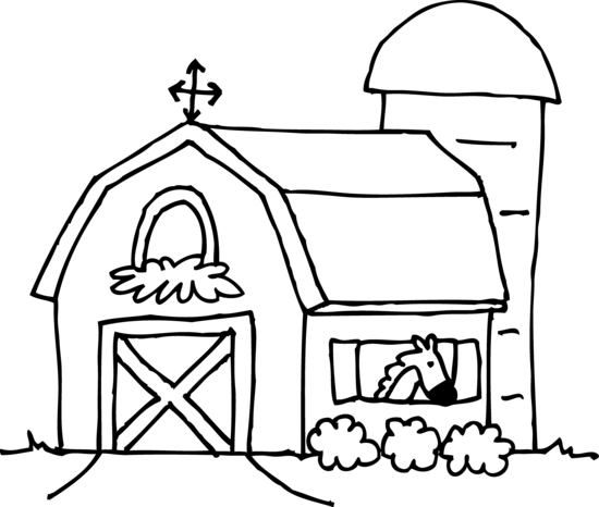 Cute Barn Coloring Page - Free Clip Art