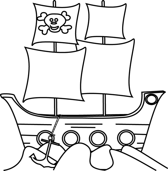 Black and White Pirate Ship in the Water Clip Art - Black and ...