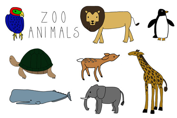 Zoo Animals Clip Art Instant Download by MaybeSparrowDesigns