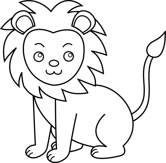 Line Art Lion : Cartoon lion drawing cliparts