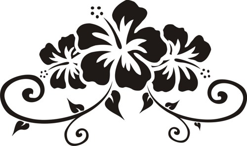 Line Art Flower Sticker Design : Hawaiian flower designs cliparts
