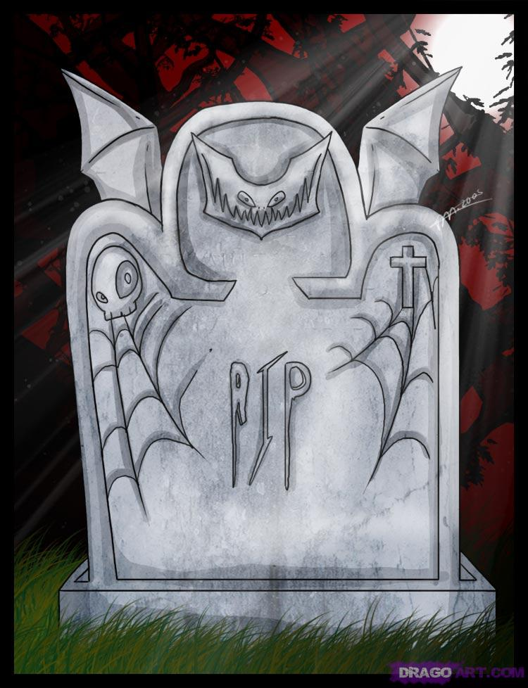 How to Draw a Cartoon Tombstone or Gravestone, Step by Step ...