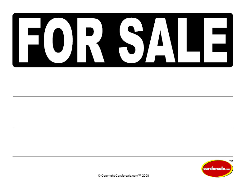 Car sale sign template