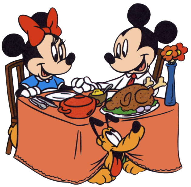 Mickey & Minnie Mouse Thanksgiving Turkey Dinner Clipart Image ...
