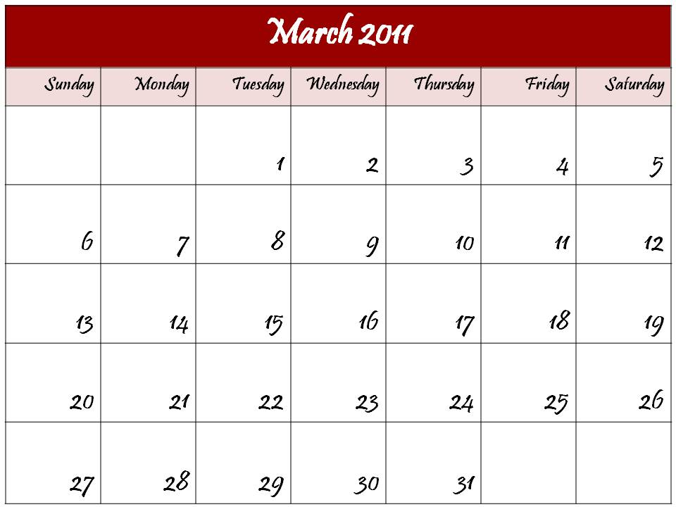 calendar template for march 2011