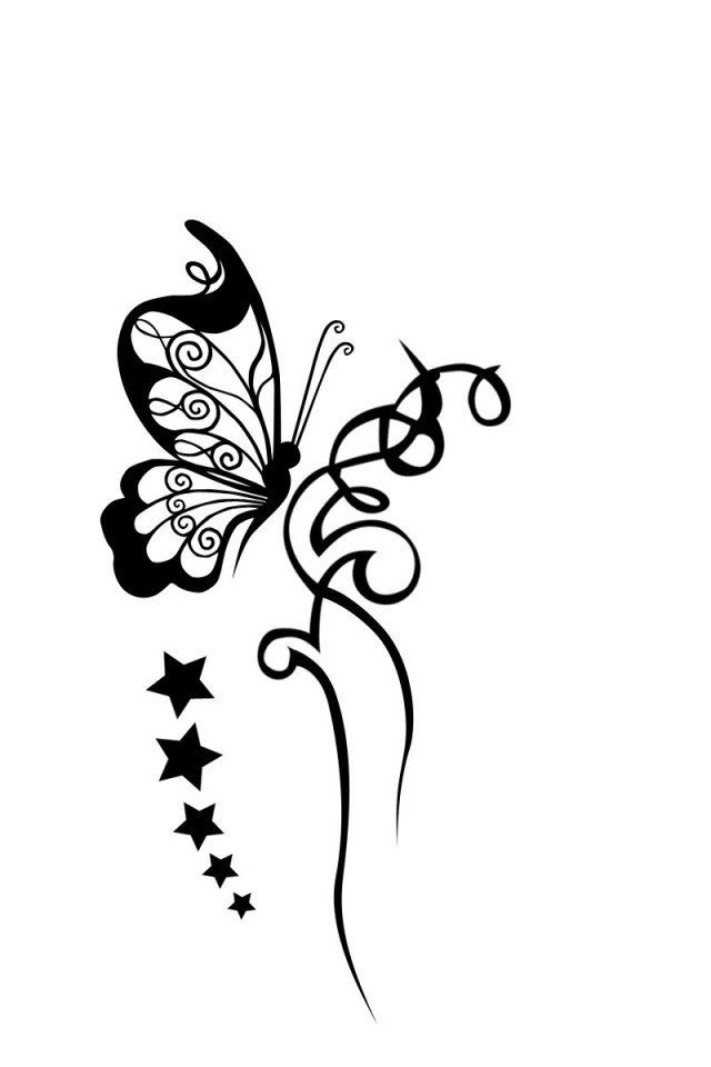 Tattoo Clipart Black And White: Butterfly Images Black And White