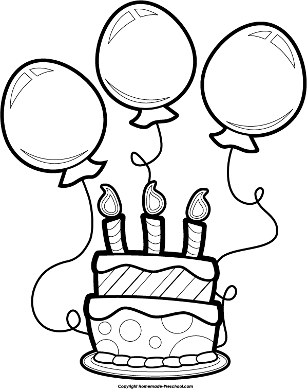 Happy Birthday Balloon Clipart Black And White | Clipart Panda ...