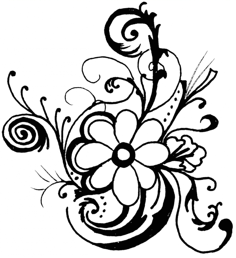 Clip Art Flowers Clip Art Black And