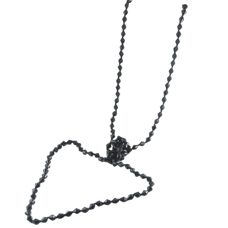 "Long 54"" Jet Black Bicone Glass Beads Necklace, Knotted - Flapper ..."