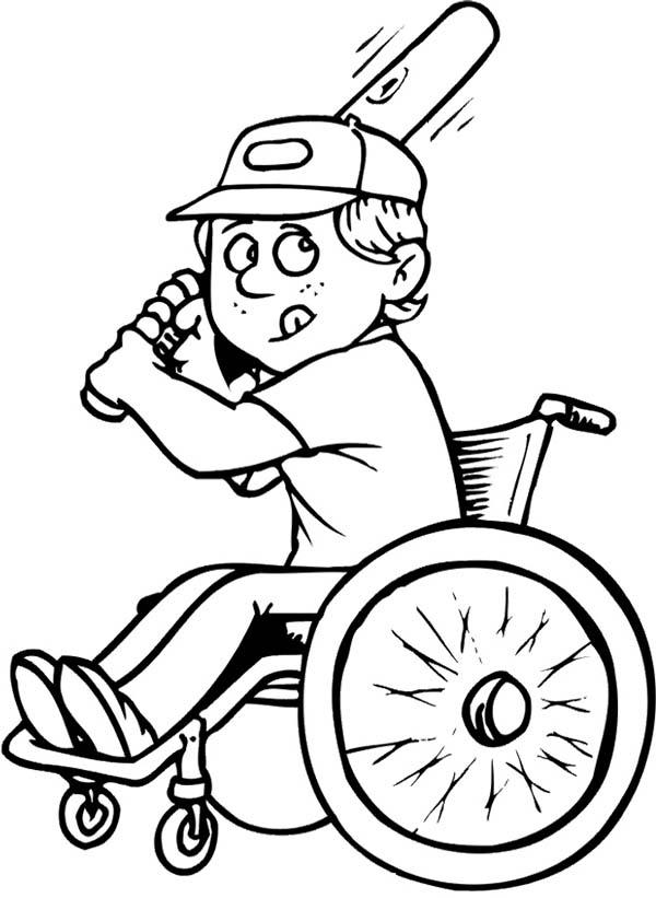 Disability Boy On Wheelchair Playing Baseball Coloring Boy Baseball Coloring Page