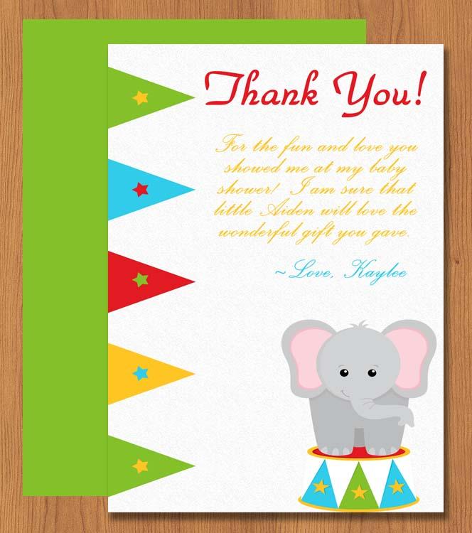 Printable Elephant Thank You Card | Microsoft Word ...