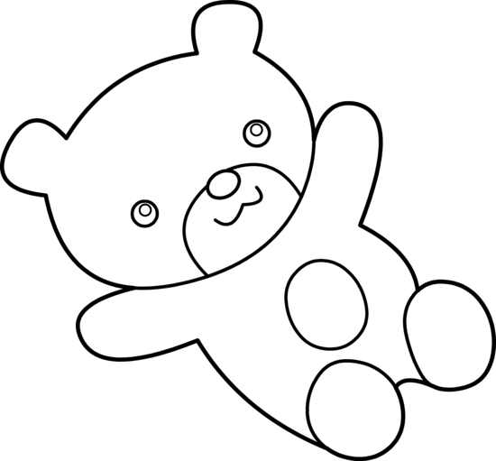 Cuddly Teddy Bear Coloring Page - Free Clip Art
