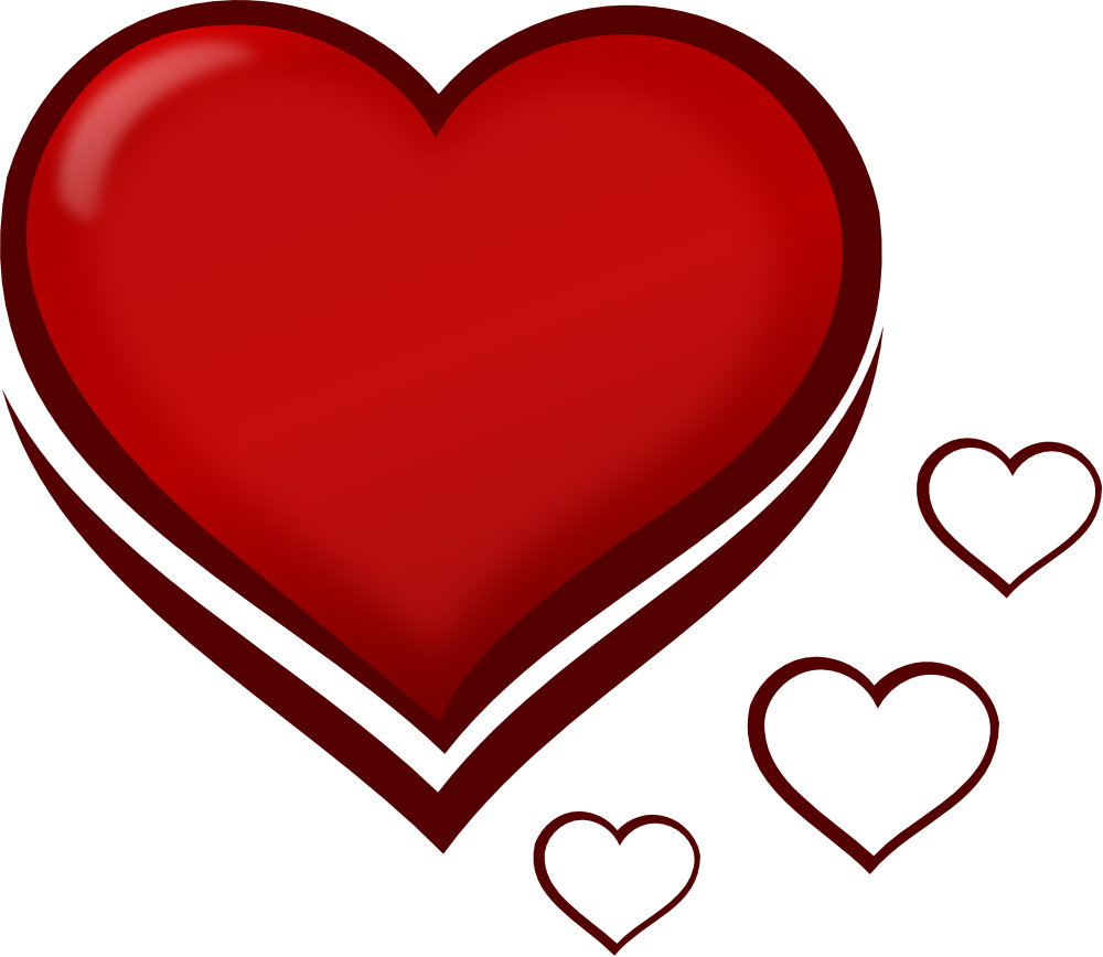 OnlineLabels Clip Art - Red Stylised Heart With Smaller Hearts