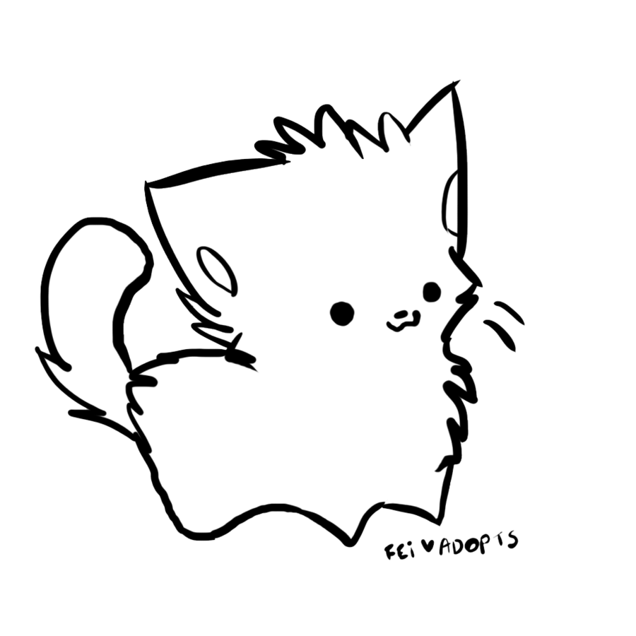 Line Drawing Kitty : Cat line art cliparts