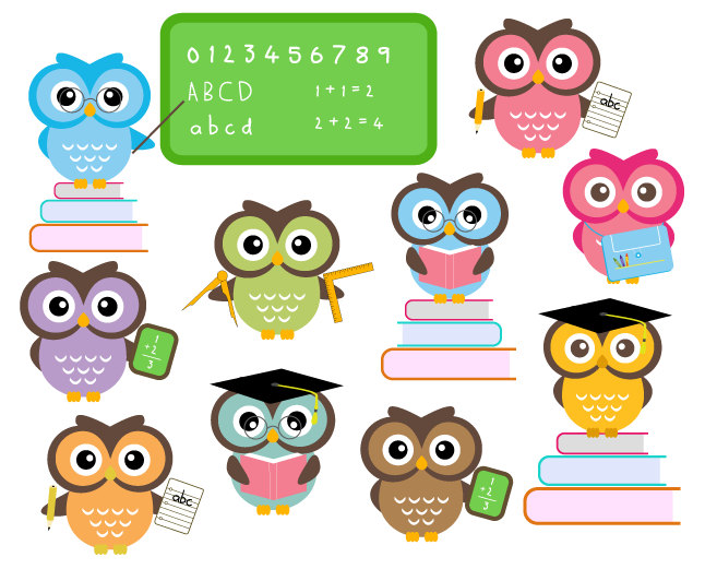 How cute is this school Owl clip art!! | I Love Owls! | Pinterest