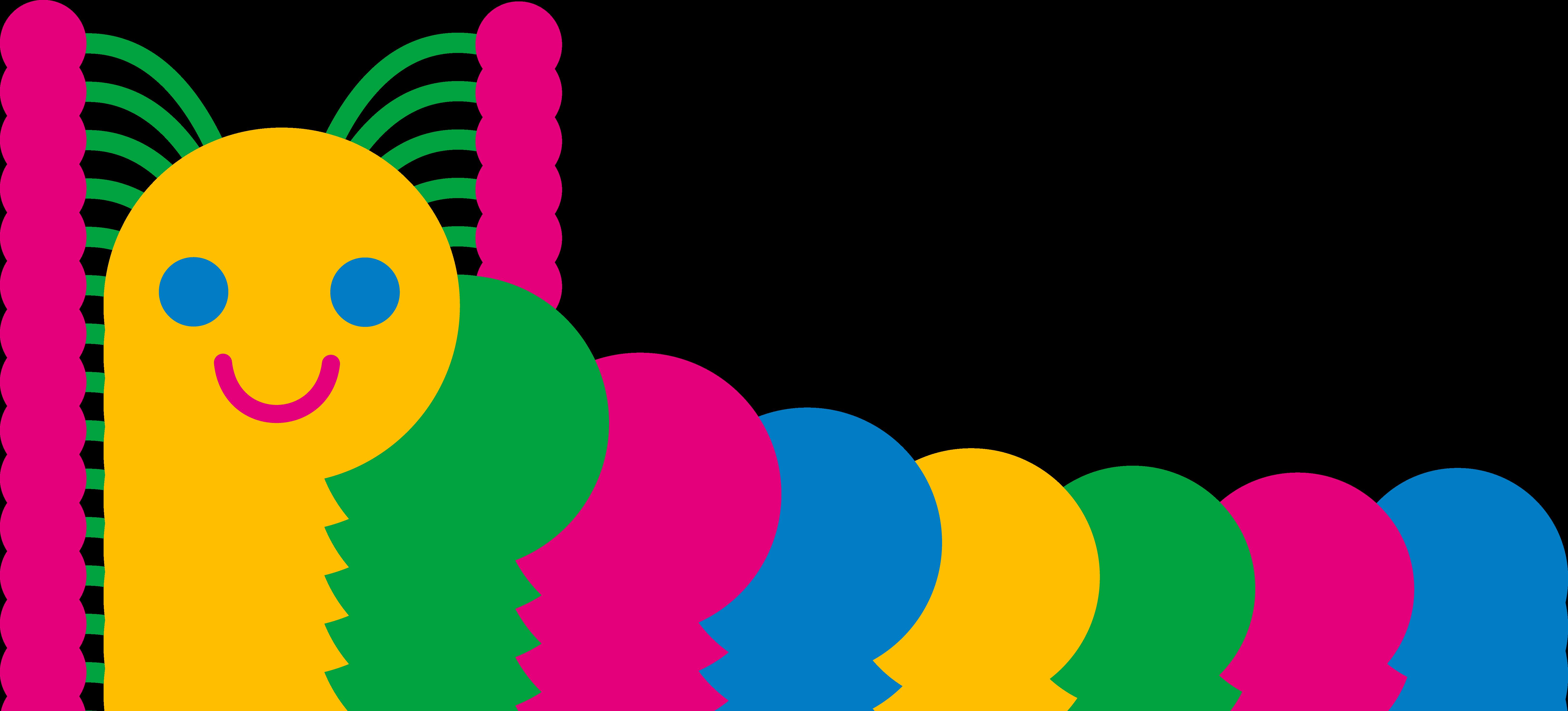 Cute Colorful Caterpillar - Free Clip Art