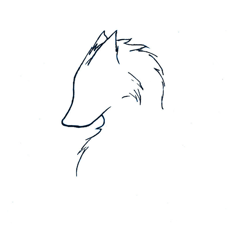 Fox Face Line Drawing : Wolf face outline tattoo