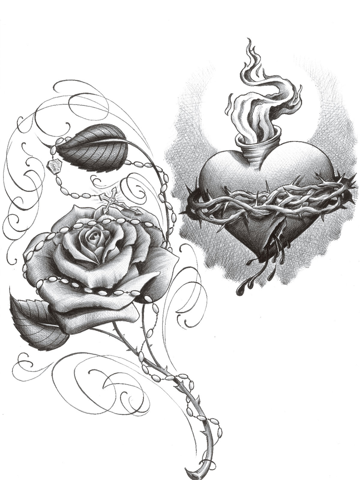 Heart And Rose Drawings In Pencil - Cliparts.co